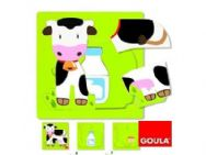 Goula 3 Level Wooden Jigsaw Puzzle - Cow
